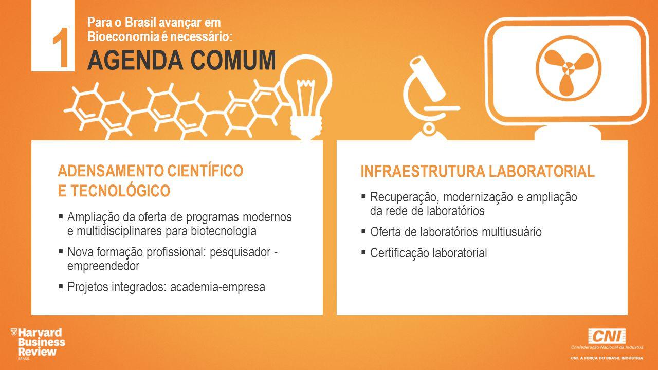 AGENDA COMUM 1 Para o Brasil avançar em Bioeconomia é necessário: EMPREENDEDORISMO  Fortalecer e expandir parques tecnológicos e incubadoras  Ampliar e adequar linhas de fomento para novas ideias e negócios  Criar rede de ensaios para baratear o desenvolvimento de produtos CULTURA DE INOVAÇÃO  Integrar fomento e Compras Governamentais para pesquisa, desenvolvimento e inovação  Fortalecer Núcleos de Inovação Tecnológica (NITs)  Mapear e divulgar núcleos de competência acadêmica e empresarial