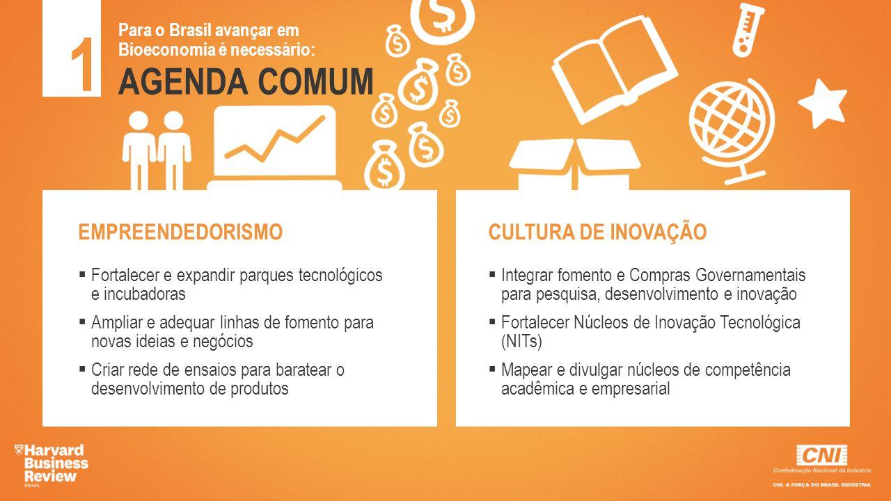 AGENDA COMUM 1 Para o Brasil avançar em Bioeconomia é necessário: EMPREENDEDORISMO  Fortalecer e expandir parques tecnológicos e incubadoras  Amplia