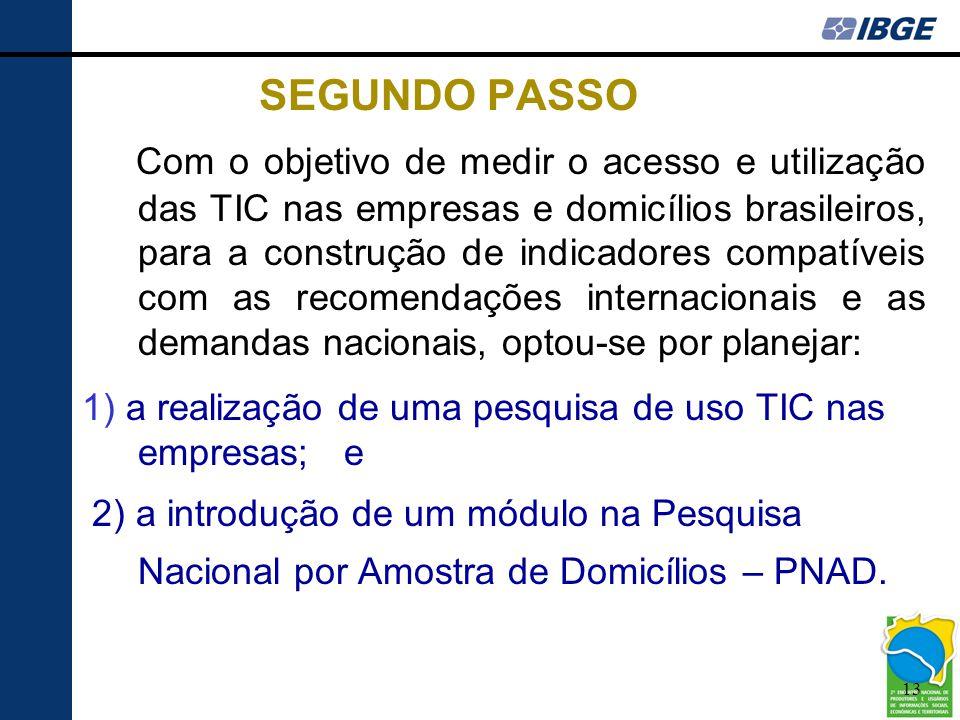13 SEGUNDO PASSO Com o objetivo de medir o acesso e utilização das TIC nas empresas e domicílios brasileiros, para a construção de indicadores compatí