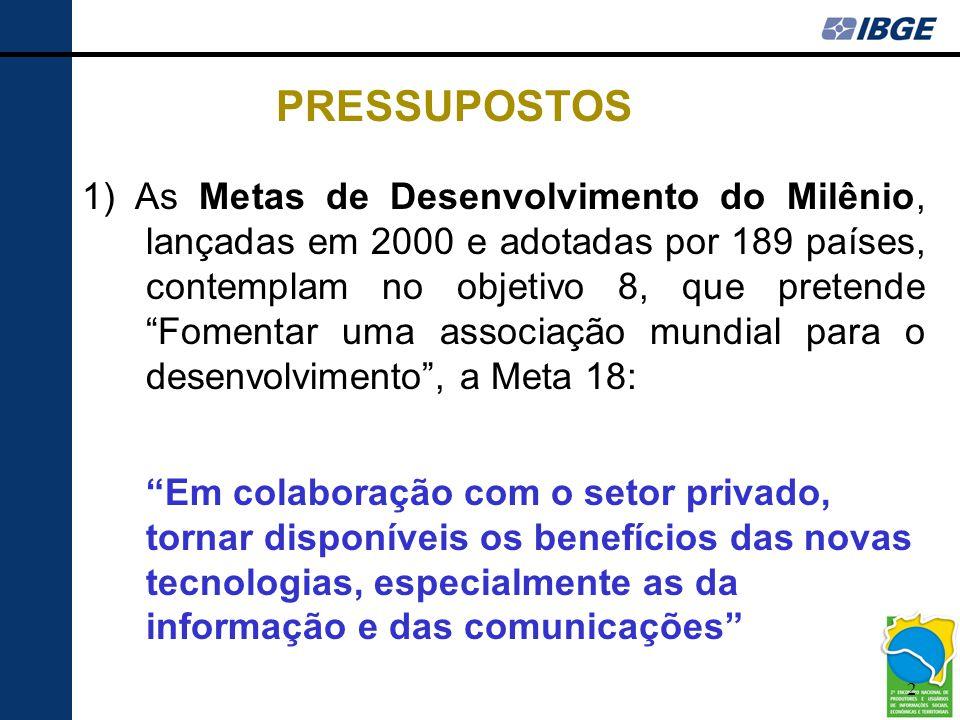 3 2) O Plano Plurianual 2004/2007 do governo brasileiro estabeleceu como desafio: Ampliar o acesso à informação e ao conhecimento por meio das novas tecnologias, promovendo a inclusão digital e garantindo a formação crítica dos usuários PRESSUPOSTOS