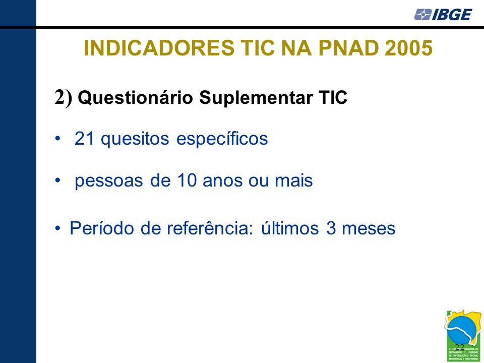 22 INDICADORES TIC NA PNAD 2005 2) Questionário Suplementar TIC • 21 quesitos específicos • pessoas de 10 anos ou mais •Período de referência: últimos