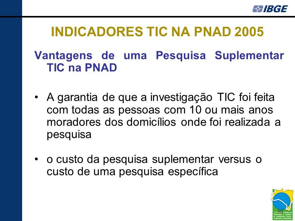 30 INDICADORES TIC NA PNAD 2005 Vantagens de uma Pesquisa Suplementar TIC na PNAD •A garantia de que a investigação TIC foi feita com todas as pessoas