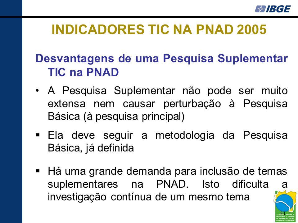 31 INDICADORES TIC NA PNAD 2005 Desvantagens de uma Pesquisa Suplementar TIC na PNAD •A Pesquisa Suplementar não pode ser muito extensa nem causar per