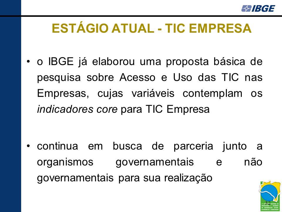 32 ESTÁGIO ATUAL - TIC EMPRESA •o IBGE já elaborou uma proposta básica de pesquisa sobre Acesso e Uso das TIC nas Empresas, cujas variáveis contemplam