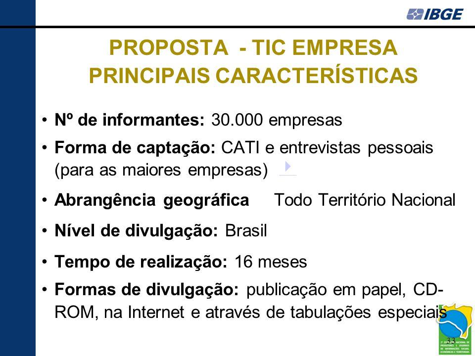 33 PROPOSTA - TIC EMPRESA PRINCIPAIS CARACTERÍSTICAS •Nº de informantes: 30.000 empresas •Forma de captação: CATI e entrevistas pessoais (para as maio
