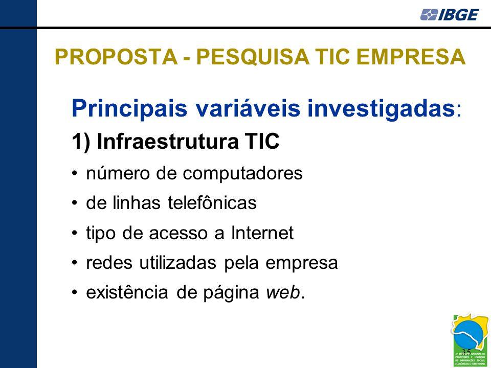 35 PROPOSTA - PESQUISA TIC EMPRESA Principais variáveis investigadas : 1) Infraestrutura TIC •número de computadores •de linhas telefônicas •tipo de a