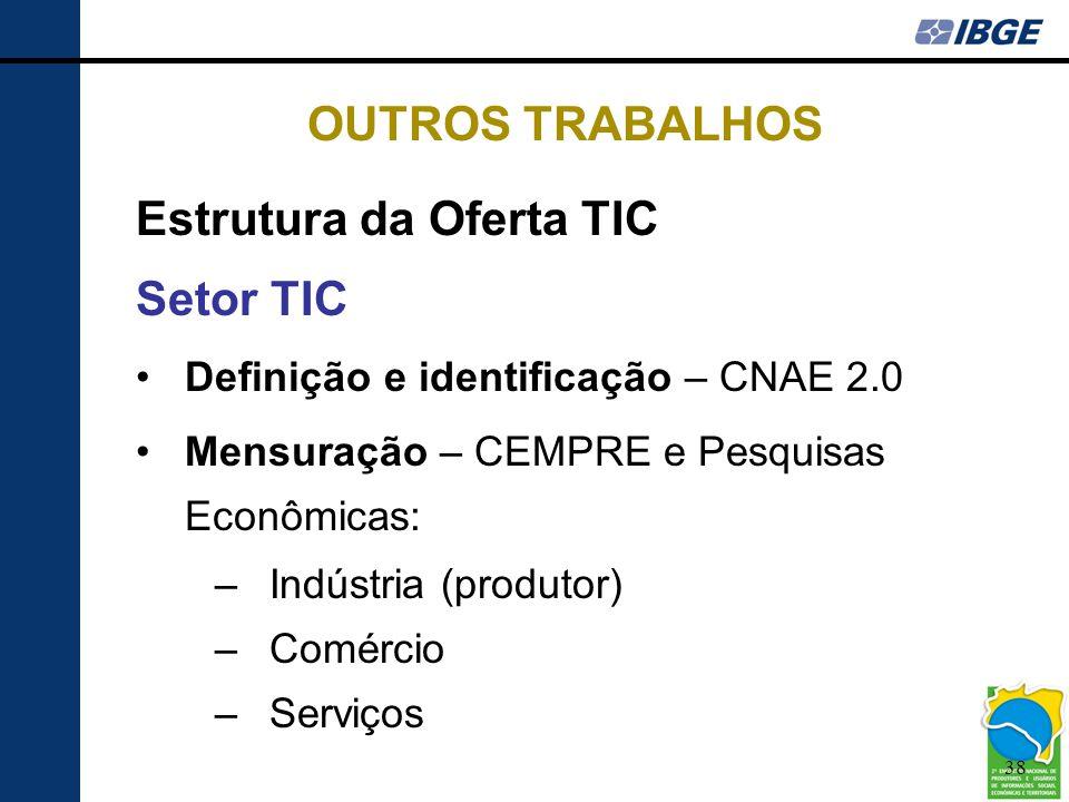 38 OUTROS TRABALHOS Estrutura da Oferta TIC Setor TIC •Definição e identificação – CNAE 2.0 •Mensuração – CEMPRE e Pesquisas Econômicas: –Indústria (p