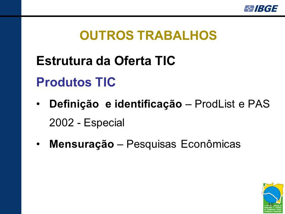39 OUTROS TRABALHOS Estrutura da Oferta TIC Produtos TIC •Definição e identificação – ProdList e PAS 2002 - Especial •Mensuração – Pesquisas Econômica