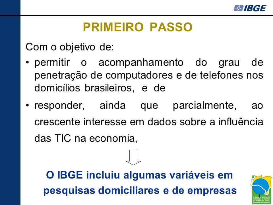 4 PRIMEIRO PASSO Com o objetivo de: •permitir o acompanhamento do grau de penetração de computadores e de telefones nos domicílios brasileiros, e de •