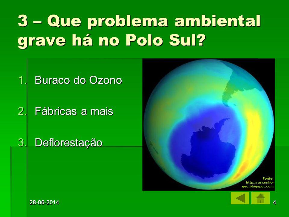 28-06-20144 1.Buraco do Ozono Buraco do OzonoBuraco do Ozono 2.Fábricas a mais Fábricas a maisFábricas a mais 3.Deflorestação Deflorestação 3 – Que problema ambiental grave há no Polo Sul.