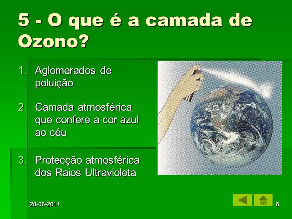 28-06-20145 4 - O que é o Ozono? 2.Um gás em que cada molécula é constituída por 3 átomos de oxigénio (O3) Um gás em que cada molécula é constituída p