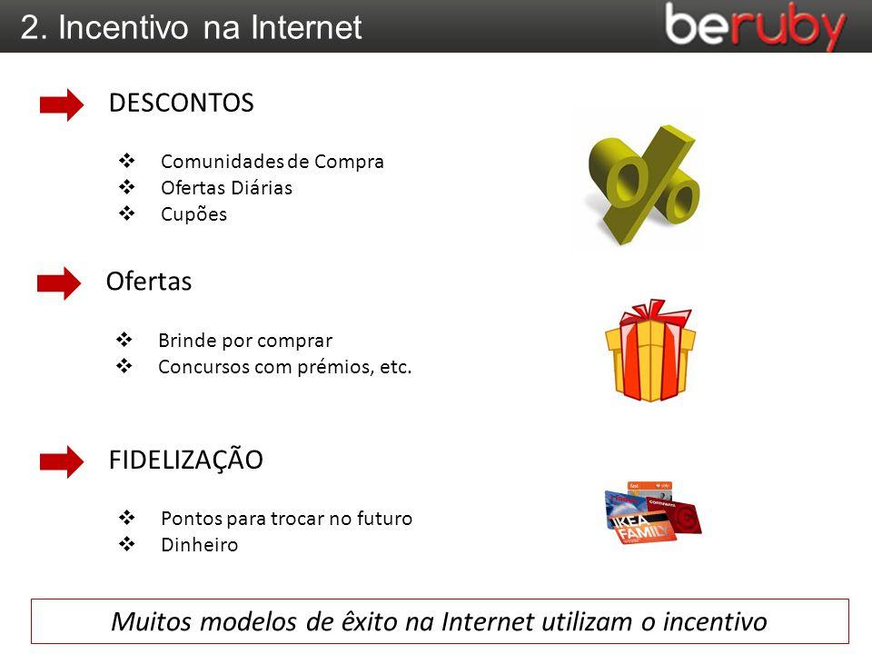 2. Incentivo na Internet  Comunidades de Compra  Ofertas Diárias  Cupões DESCONTOS  Brinde por comprar  Concursos com prémios, etc. Ofertas  Pon