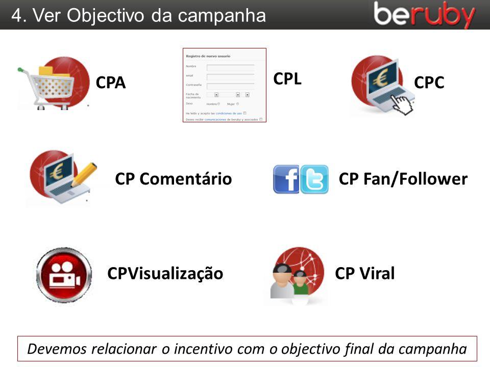 4. Ver Objectivo da campanha Devemos relacionar o incentivo com o objectivo final da campanha CPA CP Comentário CP ViralCPVisualização CPL CPC CP Fan/