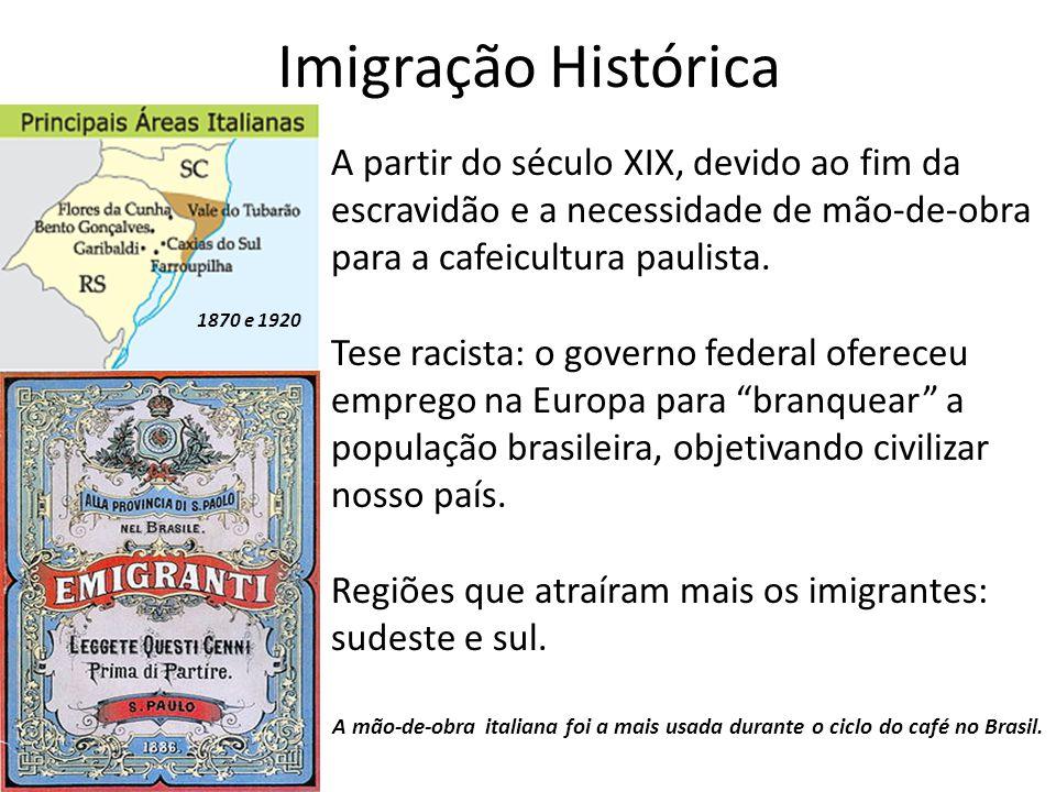 Imigração Histórica A partir do século XIX, devido ao fim da escravidão e a necessidade de mão-de-obra para a cafeicultura paulista. Tese racista: o g