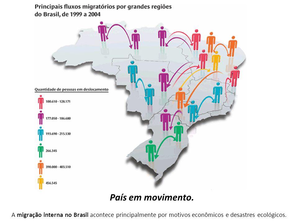 A migração interna no Brasil acontece principalmente por motivos econômicos e desastres ecológicos. País em movimento.