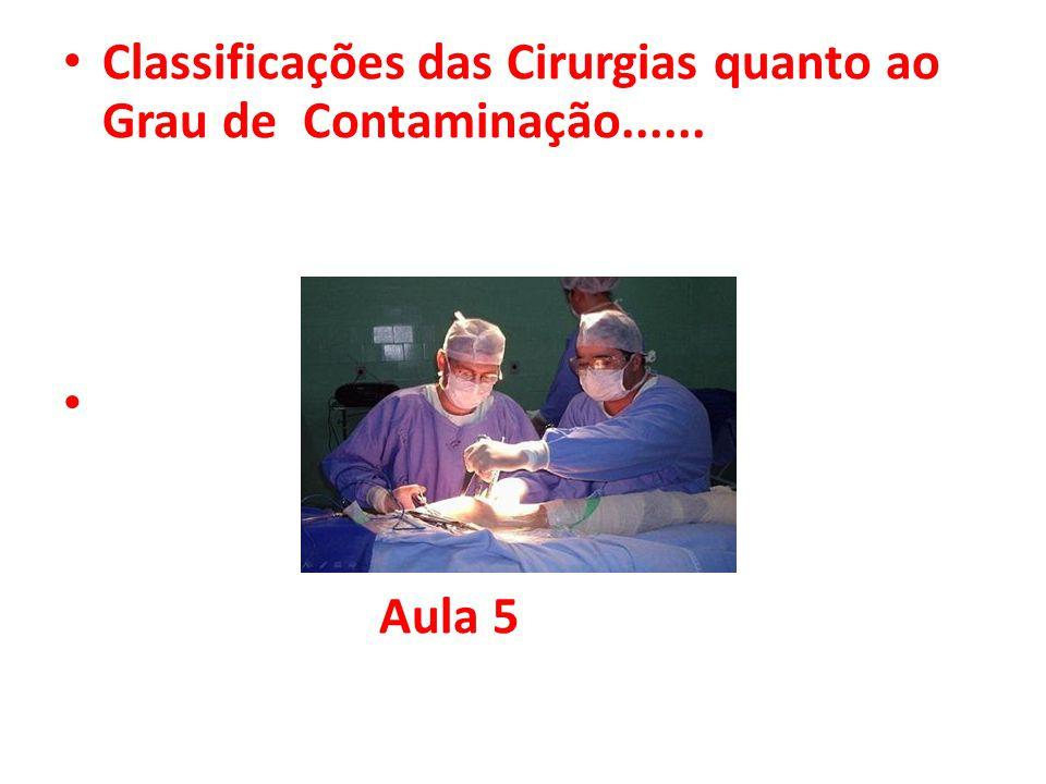 • Classificações das Cirurgias quanto ao Grau de Contaminação...... • Aula 5