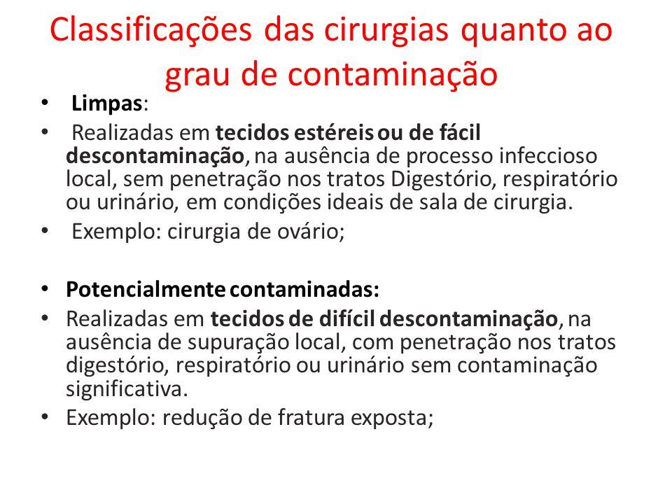 Classificações das cirurgias quanto ao grau de contaminação • Limpas: • Realizadas em tecidos estéreis ou de fácil descontaminação, na ausência de pro
