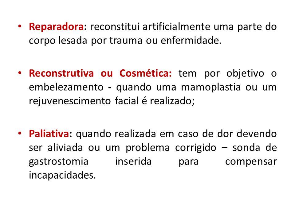 • Reparadora: reconstitui artificialmente uma parte do corpo lesada por trauma ou enfermidade. • Reconstrutiva ou Cosmética: tem por objetivo o embele