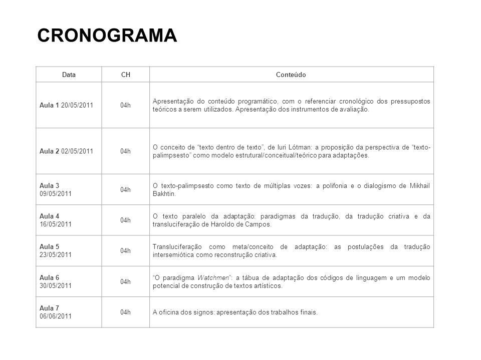 DataCHConteúdo Aula 1 20/05/201104h Apresentação do conteúdo programático, com o referenciar cronológico dos pressupostos teóricos a serem utilizados.