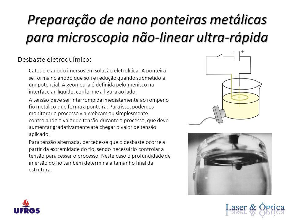 Preparação de nano ponteiras metálicas para microscopia não-linear ultra-rápida Desbaste eletroquímico: Catodo e anodo imersos em solução eletrolítica.