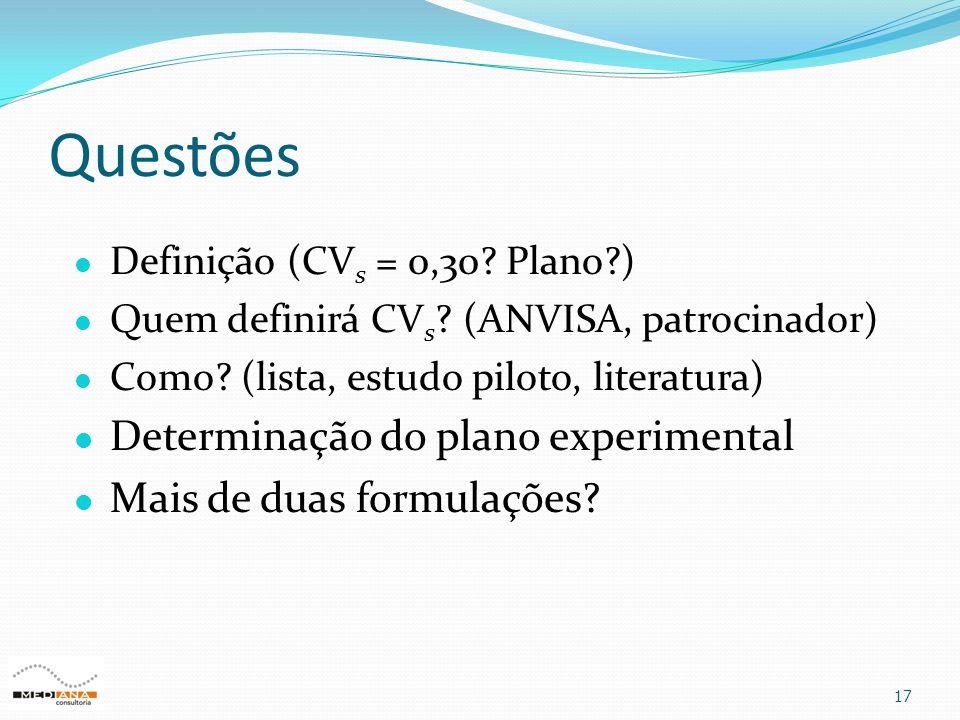 Questões 17  Definição (CV s = 0,30? Plano?)  Quem definirá CV s ? (ANVISA, patrocinador)  Como? (lista, estudo piloto, literatura)  Determinação