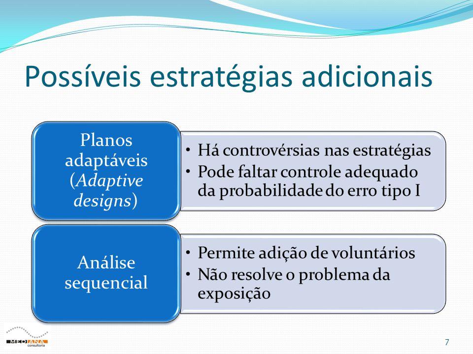 Possíveis estratégias adicionais 7 •Há controvérsias nas estratégias •Pode faltar controle adequado da probabilidade do erro tipo I Planos adaptáveis