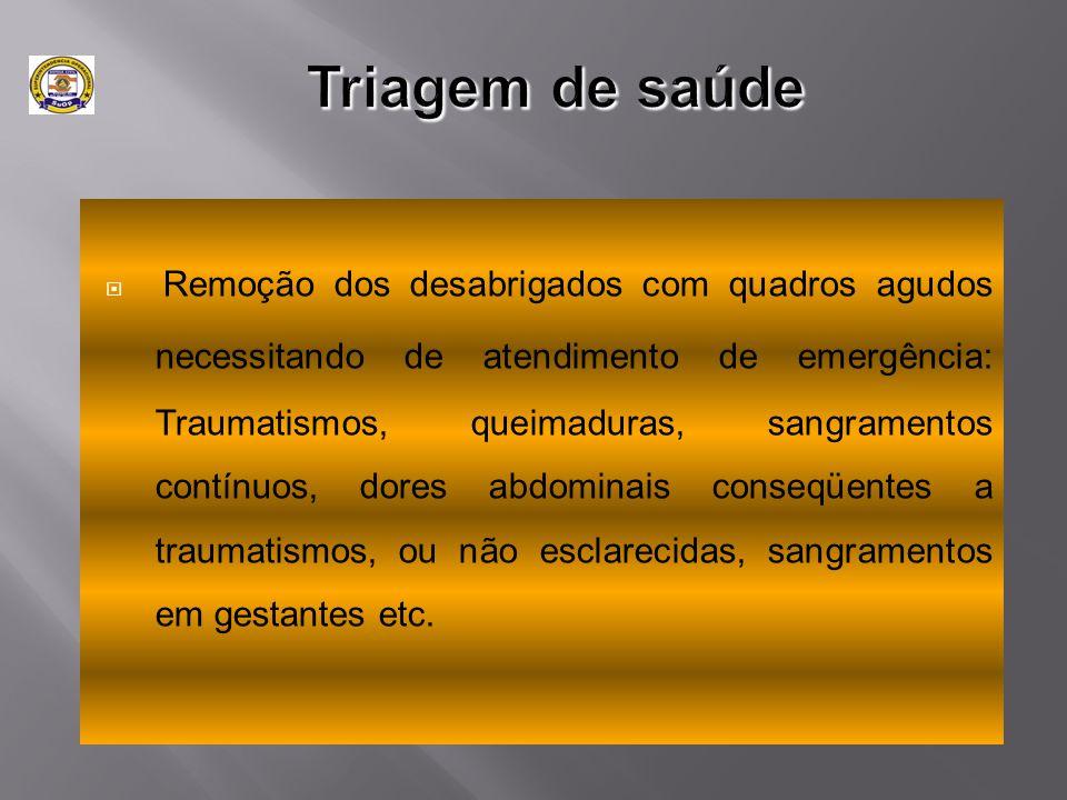  Remoção dos desabrigados com quadros agudos necessitando de atendimento de emergência: Traumatismos, queimaduras, sangramentos contínuos, dores abdo