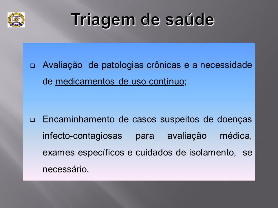  Avaliação de patologias crônicas e a necessidade de medicamentos de uso contínuo;  Encaminhamento de casos suspeitos de doenças infecto-contagiosas