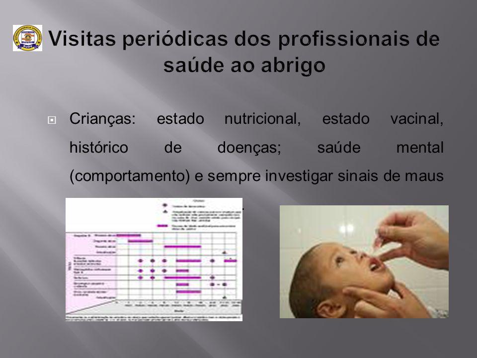  Crianças: estado nutricional, estado vacinal, histórico de doenças; saúde mental (comportamento) e sempre investigar sinais de maus tratos e/ou abus