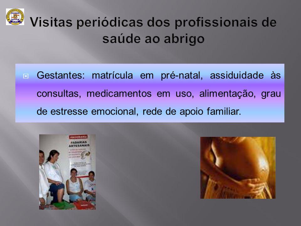  Gestantes: matrícula em pré-natal, assiduidade às consultas, medicamentos em uso, alimentação, grau de estresse emocional, rede de apoio familiar.