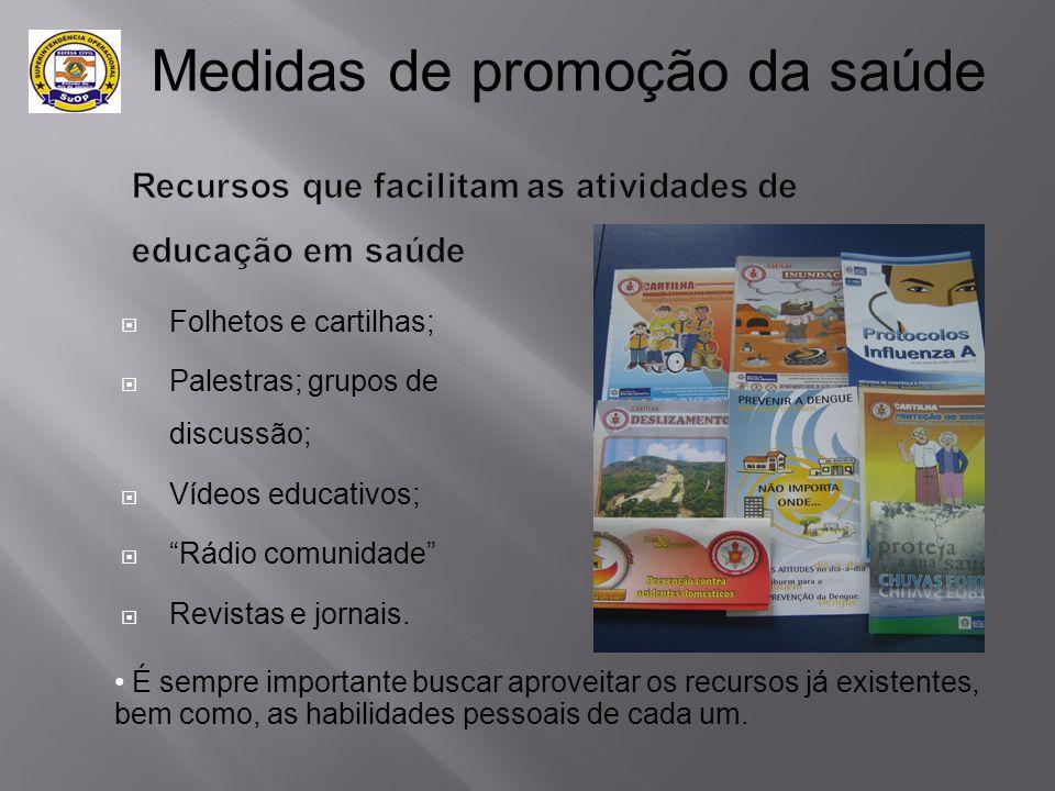 """ Folhetos e cartilhas;  Palestras; grupos de discussão;  Vídeos educativos;  """"Rádio comunidade""""  Revistas e jornais. • É sempre importante buscar"""