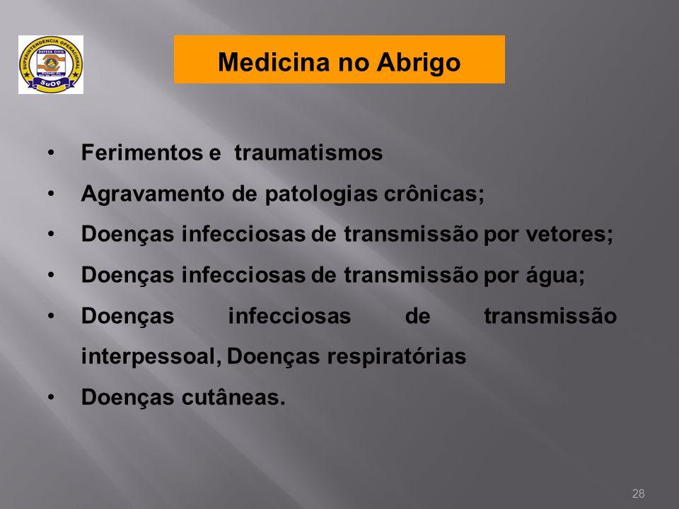 Medicina no Abrigo •Ferimentos e traumatismos •Agravamento de patologias crônicas; •Doenças infecciosas de transmissão por vetores; •Doenças infeccios