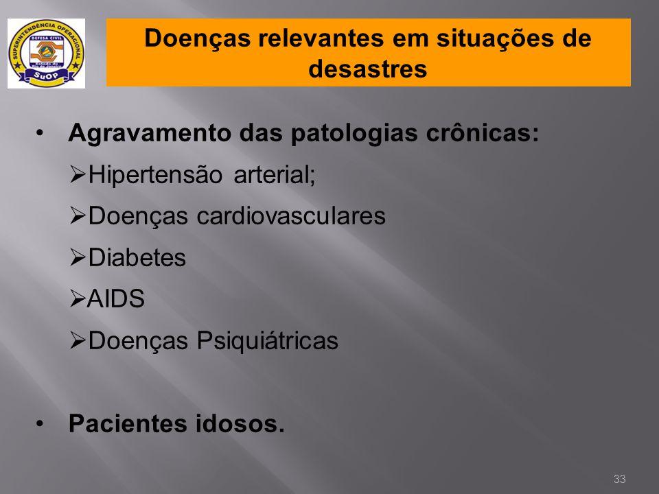 Doenças relevantes em situações de desastres •Agravamento das patologias crônicas:  Hipertensão arterial;  Doenças cardiovasculares  Diabetes  AID