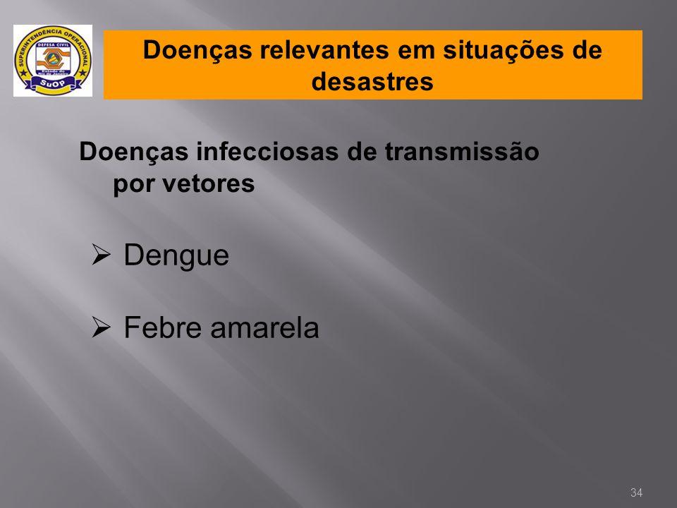 Doenças relevantes em situações de desastres Doenças infecciosas de transmissão por vetores  Dengue  Febre amarela 34