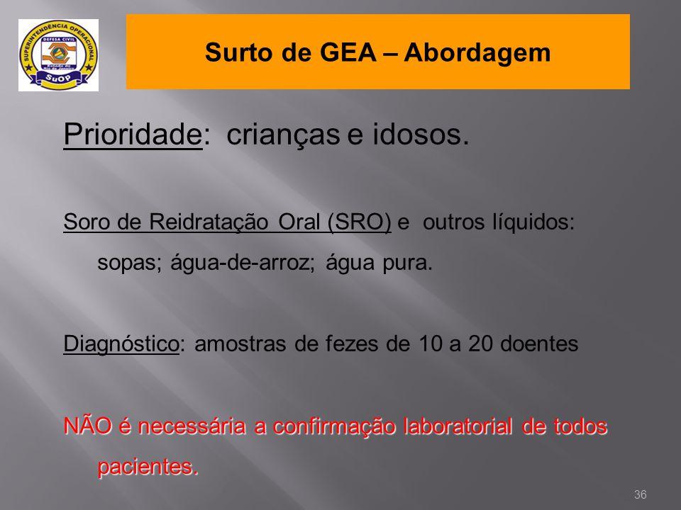 Surto de GEA – Abordagem Prioridade: crianças e idosos. Soro de Reidratação Oral (SRO) e outros líquidos: sopas; água-de-arroz; água pura. Diagnóstico