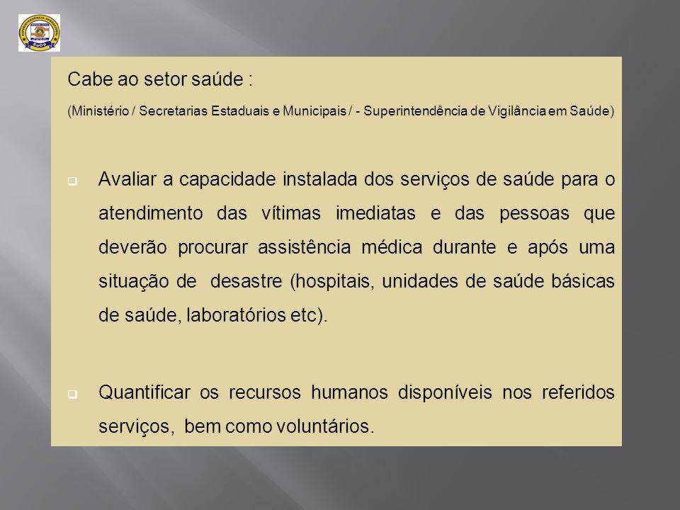 Cabe ao setor saúde (Ministério/Secretarias Estaduais e Municipais/ Superintendência de Vigilância em Saúde)  Estabelecer os locais que servirão de referência para o atendimento ambulatorial e hospitalar, bem como o fluxograma para pacientes graves;  Estabelecer a logística de atendimento pré-hospitalar (transporte de emergência);  Definir o fluxograma de coleta e análise e resultados de exames diagnósticos subsidiários;