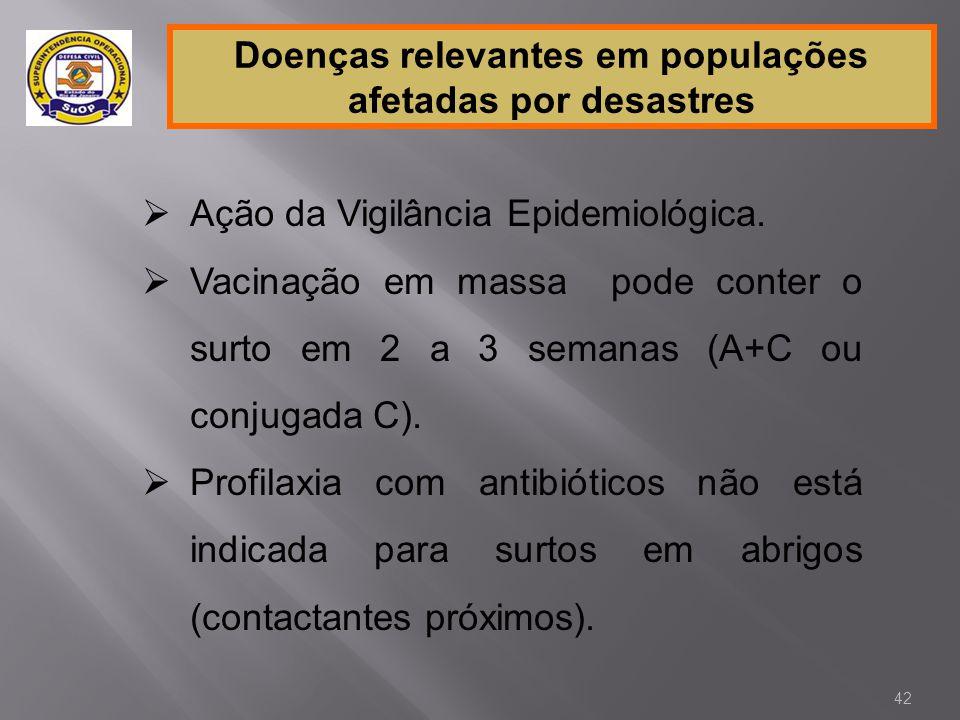 Doenças relevantes em populações afetadas por desastres  Ação da Vigilância Epidemiológica.  Vacinação em massa pode conter o surto em 2 a 3 semanas