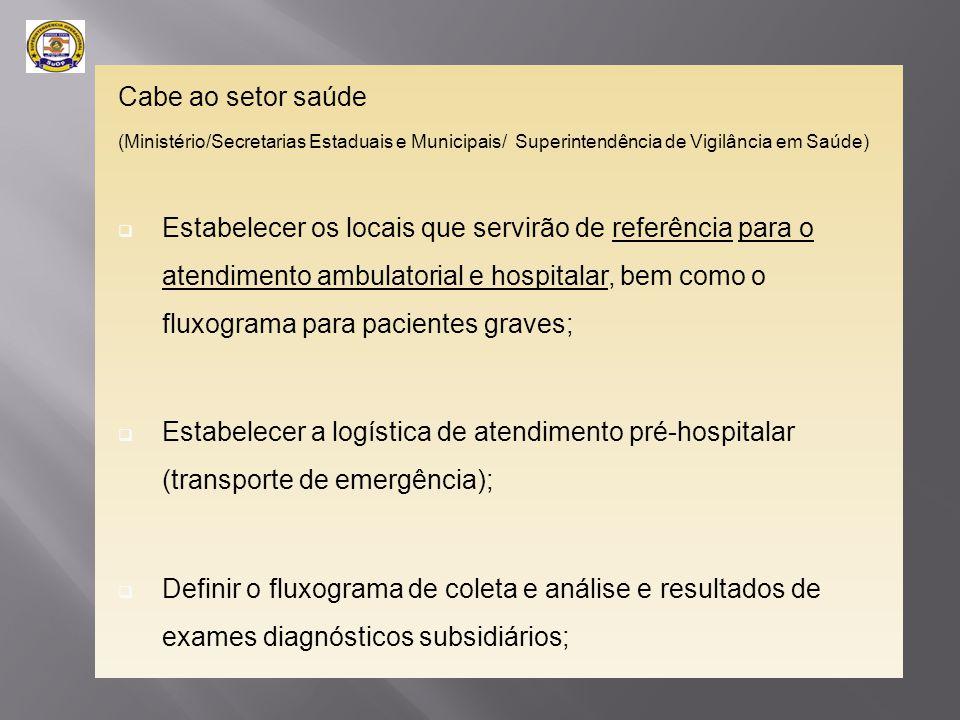 Cabe ao setor saúde (Ministério/Secretarias Estaduais e Municipais/ Superintendência de Vigilância em Saúde)  Estabelecer os locais que servirão de r