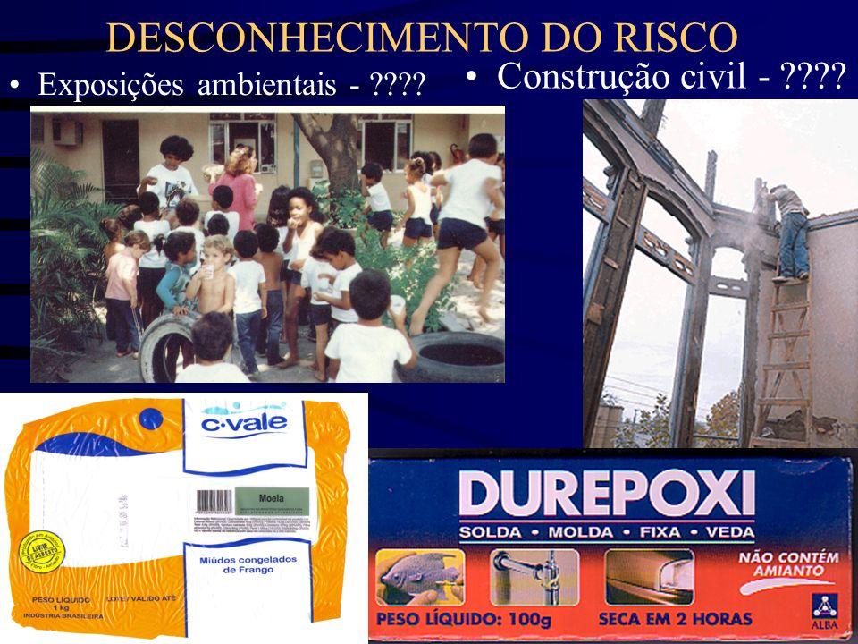 DESCONHECIMENTO DO RISCO •Construção civil - ???? • Exposições ambientais - ????
