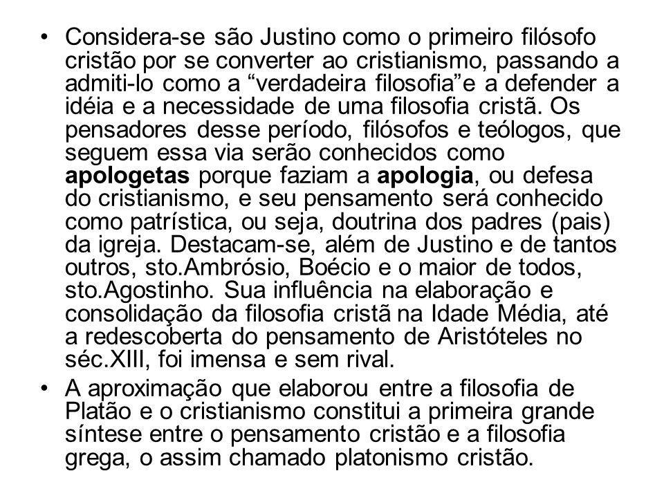 """•Considera-se são Justino como o primeiro filósofo cristão por se converter ao cristianismo, passando a admiti-lo como a """"verdadeira filosofia""""e a def"""