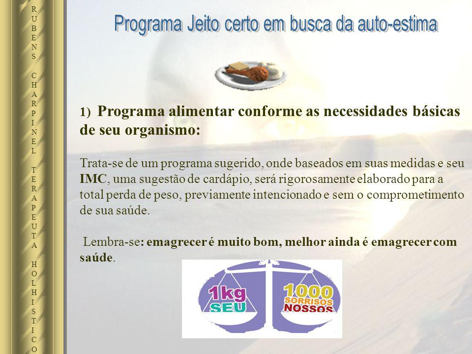 1) Programa alimentar conforme as necessidades básicas de seu organismo: Trata-se de um programa sugerido, onde baseados em suas medidas e seu IMC, um
