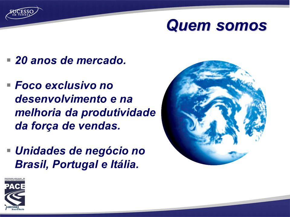  20 anos de mercado.  Foco exclusivo no desenvolvimento e na melhoria da produtividade da força de vendas.  Unidades de negócio no Brasil, Portugal
