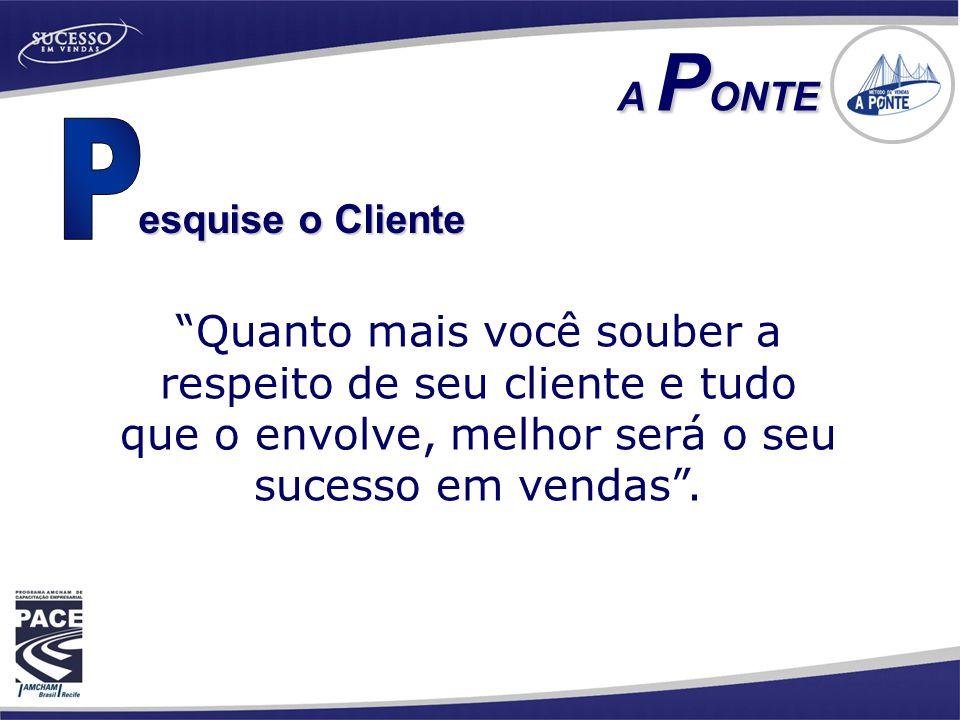 """esquise o Cliente A P ONTE A P ONTE """"Quanto mais você souber a respeito de seu cliente e tudo que o envolve, melhor será o seu sucesso em vendas""""."""