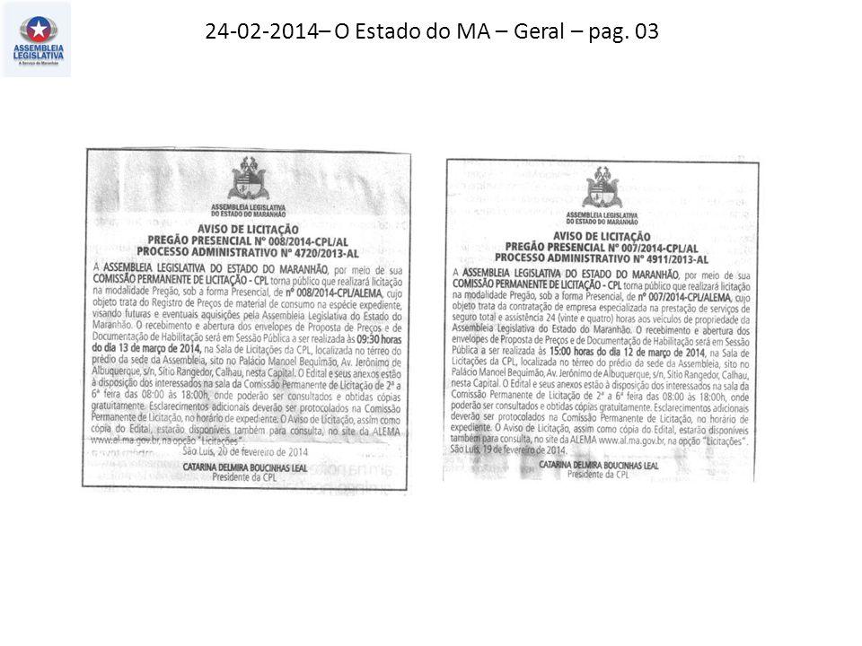 24-02-2014– Jornal Pequeno – Opinião – pag. 07