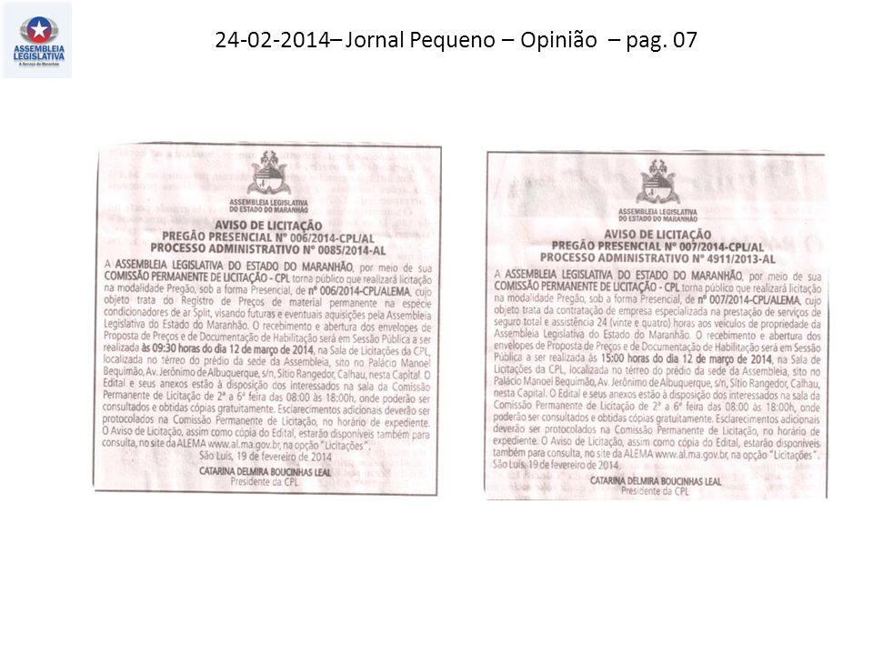 22-02-2014 – Jornal Pequeno – Opinião – pag. 03