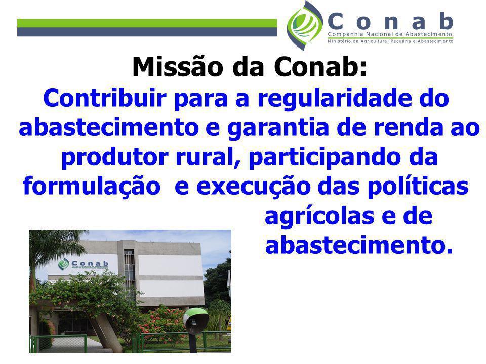 Missão da Conab: Contribuir para a regularidade do abastecimento e garantia de renda ao produtor rural, participando da formulação e execução das polí
