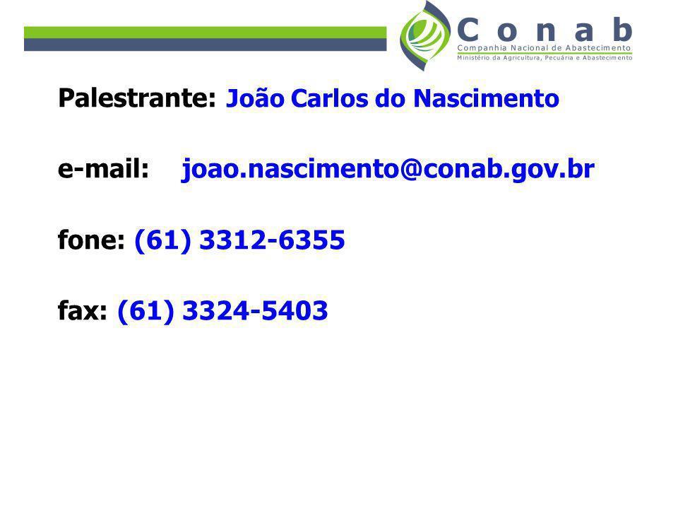 Palestrante: João Carlos do Nascimento e-mail: joao.nascimento@conab.gov.br fone: (61) 3312-6355 fax: (61) 3324-5403