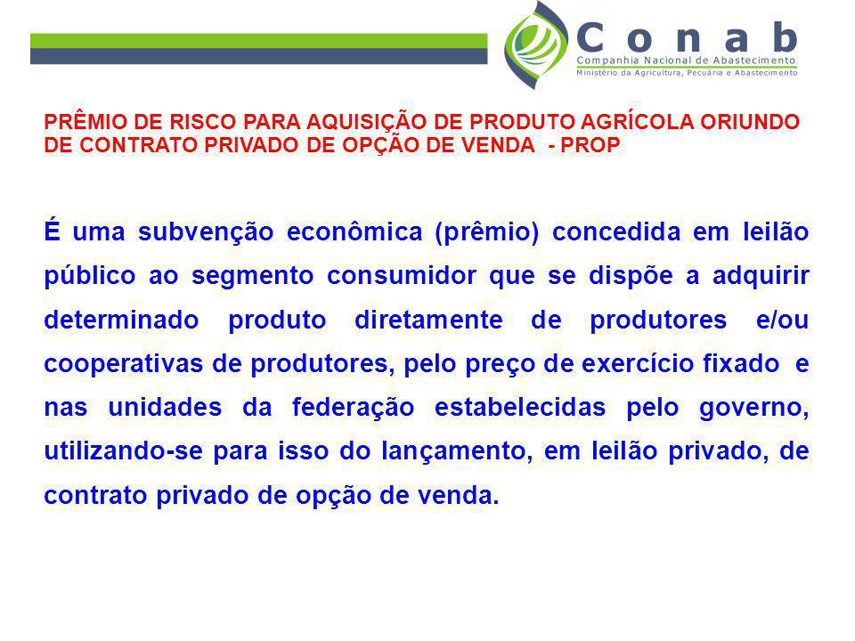 PRÊMIO DE RISCO PARA AQUISIÇÃO DE PRODUTO AGRÍCOLA ORIUNDO DE CONTRATO PRIVADO DE OPÇÃO DE VENDA - PROP É uma subvenção econômica (prêmio) concedida e