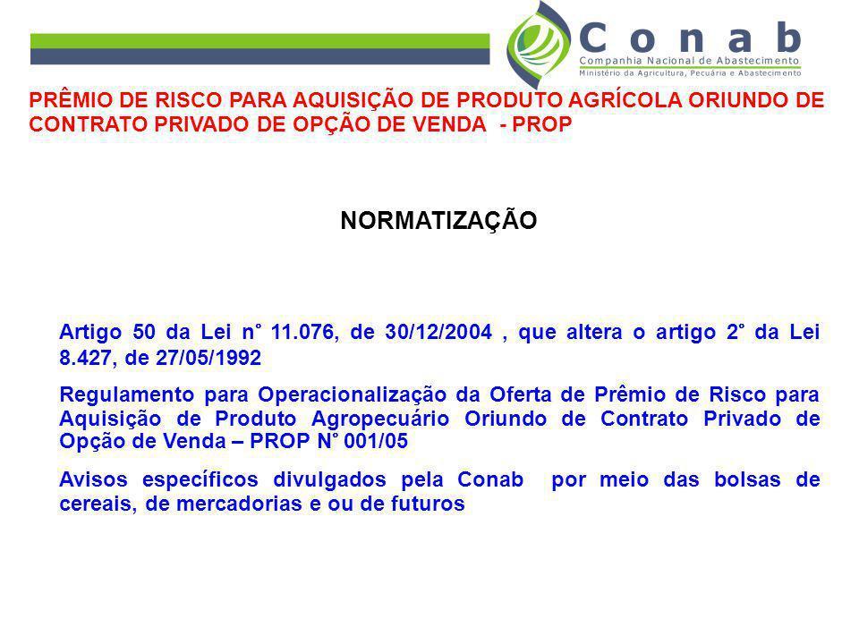 NORMATIZAÇÃO Artigo 50 da Lei n° 11.076, de 30/12/2004, que altera o artigo 2° da Lei 8.427, de 27/05/1992 Regulamento para Operacionalização da Ofert
