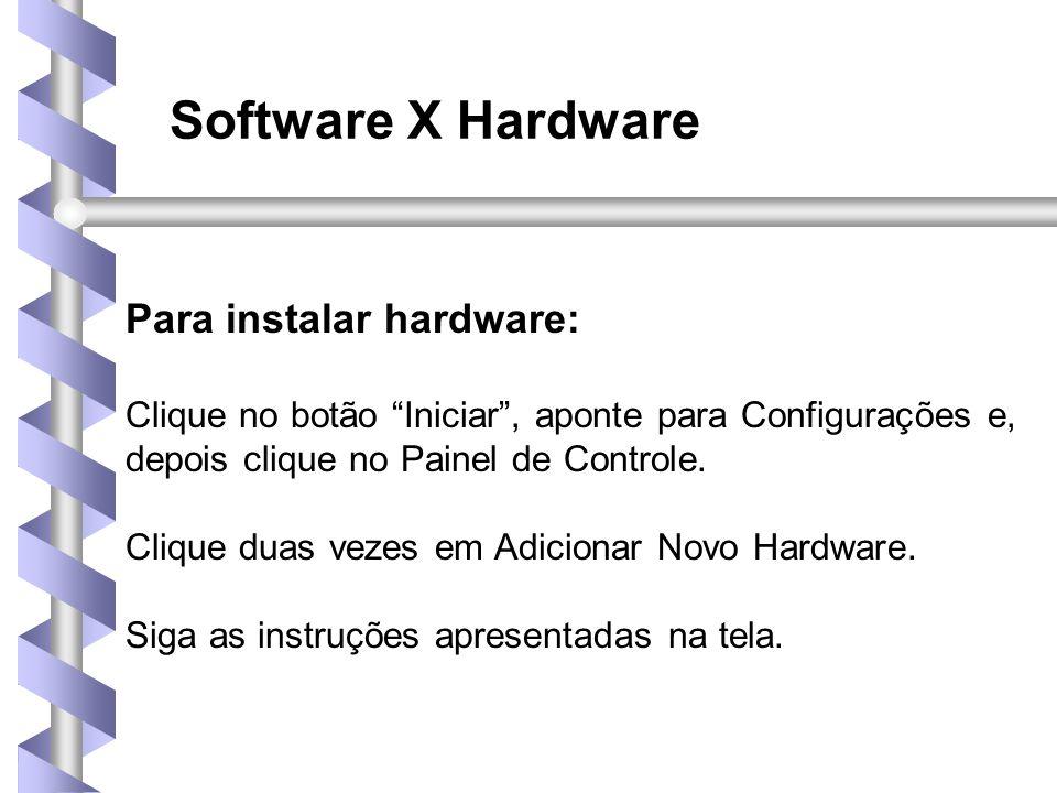 Software X Hardware Para instalar hardware: Clique no botão Iniciar , aponte para Configurações e, depois clique no Painel de Controle.